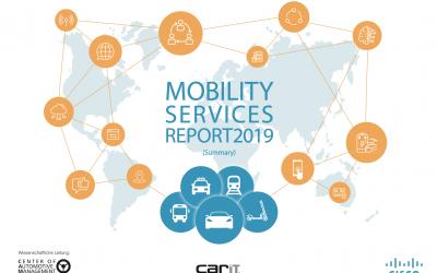 Entwicklungstrends im Bereich der Mobilitätsdienstleistungen in den wichtigsten globalen Märkten, 12.11.2019; Mobility Services Report 2019 (MSR)
