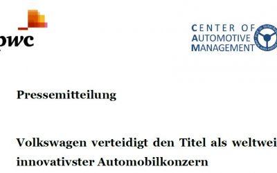 AutomotiveINNOVATIONS: Volkswagen verteidigt den Titel als weltweit innovativster Automobilkonzern